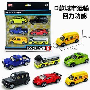 6 Piece Set Diecast 1:64 Mini Alloy Car Modelo Brinquedos Tractor Veículo Transportador de engenharia Carros corridas off-road carro Kids Brinquedos