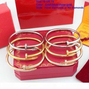 Classique Marque Fashion Luxe Designer Couple Nail Cuff Femmes Hommes Bracelet Amour Bracelet cadeau avec coffret