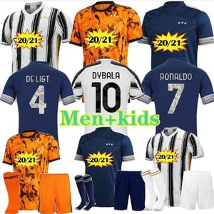 Fãs jogador da Juventus jérsei de futebol 2020 2021 camisas de futebol 4ª RONALDO DE ligt 20 21 DYBALA RAMSEY JUVE Terceiro distância Men + crianças uniformes kit