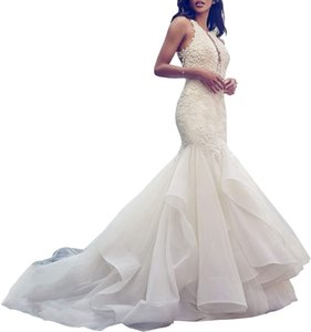Women's Mermaid V Neck Wedding Dresses Embroidered Organza Ruffles Skirt Wedding Gowns for Brides