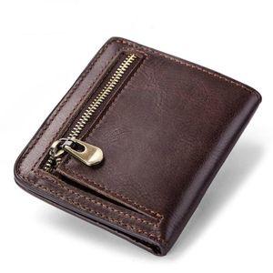 New Wallet Short Fund Genuine Leather Zero Head Layer Cowhide Leather Bag for men dinero hombre Vintage monedero European style
