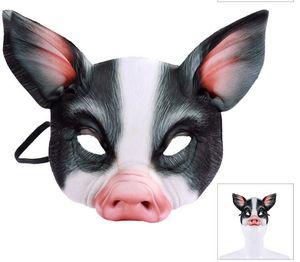 Máscara Cospty engraçado do partido do carnaval animal Realstic Meia cara Branco Preto Anime Cosplay EVA 3D Pig GB1025