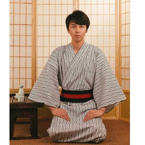 Men Japanese Samurai costumes Kimono Jinbei Home Wear Loose Cotton Black Yukata Traditional Clothing Pajamas Nightgown Robe