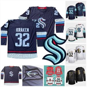 Seattle Kraken 2021 Hockey su ghiaccio Jersey 32 ° New Team personalizzato Jersey Road Home Qualsiasi nunber qualsiasi nome Uomini Donne gioventù