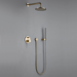 "Bathroom Bath Brushed Gold Rain fall Faucet Brass Diverter Mixer Tap Set Hand held 8-12""Shower Head Wall Arm Valve System Kit"