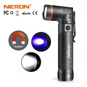 Nicron Weiß / UV-Licht LED-Taschenlampe N72 / N72-UV 90 Grad Twist Wasserdichte 800LM 18650 / AAA Batterie Magnet LED Taschenlampe Y200727