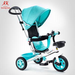 Bambino triciclo passeggino pieghevole a tre ruote Passeggino biciclette Rotating seggiolino auto convertibile maniglia Free-inflazione Ruote