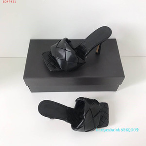 2020 Latest Real leather slippers women shoes Square sole mules , open-toed Woven high heel slipper soft nappa Lido Sandals ,9cm heel k01