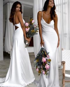 2020 Généreux Empire Bridesmaid blanc pur long robes sans bretelles balayage train plage Boho mariage Guest Dresses