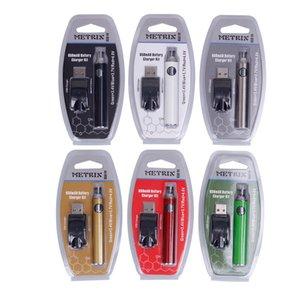 510 Konu Kartuş için DHL Ücretsiz Metrix Onceden Blister Pil 650mAh Ön ısıtma Değişken Voltaj Piller VV USB Şarj Vape Kalem Seti