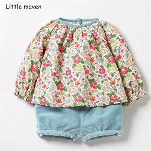 Küçük çocuk giyim setleri 2019 sonbahar maven yeni kızlar Pamuk marka çiçek baskılı t shirt + gök mavisi şort başında 20.251 0.926