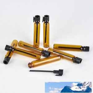 2ml Amber Glass Tube Test Bottle With Black Stopper Empty Refillable Cosmetic Liquid Aromatherapy Essential Oils Fragrance Bottles TestTube