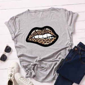 Fashion Crew Neck Top Short Sleeved Cute Casual Loose Tees Leopard Lip Print Womens Designer Tshirts