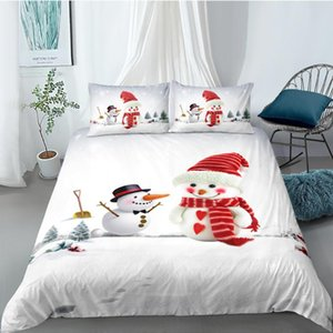 Snowmen Bedding Set Christmas Fresh 3D Cartoon Duvet Cover For Kids King Queen Twin Full Single Double Unique Design Bed Set