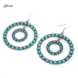 Ring Earring With Stones Bohemian Earrings For Women Vintage Boho Double Circle Earrings Gypsy