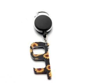 Portátil Keychain botões de elevador Contactless Ferramenta chave da porta Pega Protecção Segurança Isolamento No-Touch abridor Car Anel LJJA1340