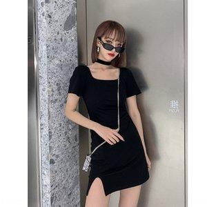 Square Collar Negro Fg2fv para las mujeres se visten de verano 2020 nueva línea A- tocar fondo fractura atractiva para adelgazar vestido de manga corta