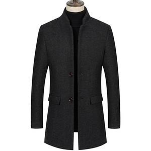 Mountainskin Men's New Woolen Jacket Winter Autumn Male Stand Collar Fashion Thick Long Coat Solid Casual Windproof Coat SA995
