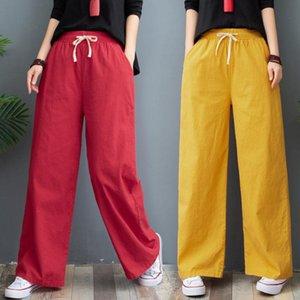 Pantalons Femmes New Washed Coton et lin Pantalon jambe large, mince style d'été, droite en vrac, de grande taille Linen féminine Pantalons