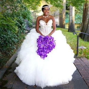 High Quality Luxurious Ball Gown Sweetheart Wedding Dresses Sleeveless Beaded Tulle Formal Bride Bridal Gowns Custom Made Robe De Marriage