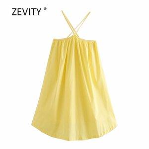 sadece çapraz kayış boyunda asmak Zevity Yeni kadınlar sarı Mini şık kadın sırtı açık kolsuz gündelik yular elbise DS4097 elbise