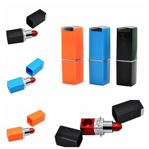 Barra de labios portátil Fumar tabaco tubos de metal tubos de aleación de aluminio lápiz labial forma de las tuberías fumadores 120pcs Accesorios CCA12509