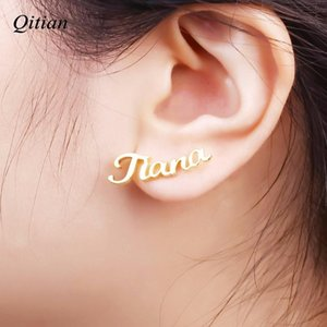 1 Pair Personalized Custom Name Earring Gold Nameplate Stud Earrings For Women Girls Initial Custom Gift For Best Friend Girl T7190617