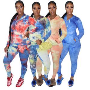 Femmes manches longues à capuche Set 2 pièce vêtements Tie Dye Pull Leggings T-shirt costume pantalon sport Survêtement Sweat Tenues D81010