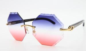 2020 Livraison gratuite en gros 4.189.706 Rimless Hardware Black Flower Corne de buffle Lunettes de soleil unisexe rectangle lunettes avec boîte Carved06
