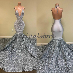 Nigeria Africa Mermaid Evening Dresses Sexy Halter Deep V Neck Backless Prom Dress Silver Elegant Crochet Sequins 3D Floral Party Gown 2021