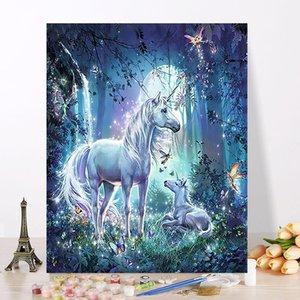 Pintura romántica del unicornio de bricolaje al óleo por números pared del arte moderno lienzo de pintura único animal decoración de la boda de la lona