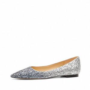 Hapucky Kristal Kadın Düz Sivri Burun Strass Tek Shoes Kadınlar Düz Bling Parti Düğün Büyük Beden 40 k3oB #