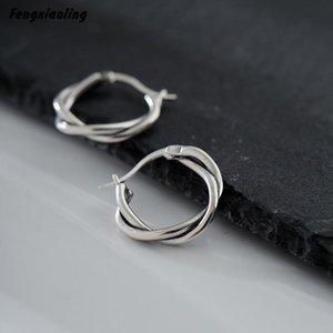 Fengxiaoling 100% Genuine 925 Sterling Silver Retro Style Simple Twist Hoop Earrings For Women Minimalist Earrings Fine Jewelry