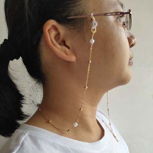 Оправы цепи металл из бисера белого пластика Pearl очарования маски висящей веревки гальванического металла силиконовой цепи Loops SunGlass аксессуара женщина подарок
