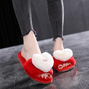SWQZVT 2020 Frauen Pantoffel Schuhe weich Schlafzimmerboden Hausschuhe für Frauen lieben Hochzeit flache Innen Herbst-Winterschuhe Damen