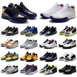 2020 Mens Zoom Mamba 5 V Protro Lakers 5s Zapatos de baloncesto Pink Black Cestas Deportes Entrenadores Deportes Zapatillas Zapatos Des Chaussures Tamaño 36-46