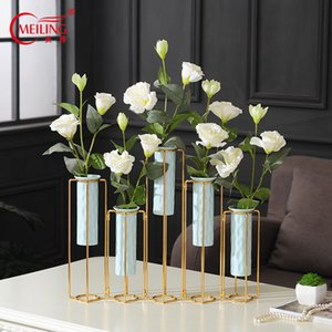 Neue kreative Faltbare Metall Keramik Vase Standplatz für Blumen Unique Wedding Party Hotels Vaseenfüller Luxus Nordic Home Decorations