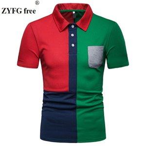 ZYFG hombres libres de manga corta bolsillo de la camisa de cuello de empalme de apertura de cama decorativa tops masculinos masculina primavera y el verano de moda