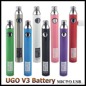 Original EcPow UGO V3 batería 650mAh 900mAh Precalentar VV Micro USB de carga de la batería Vape pluma para cartuchos de aceite espeso con cargador USB