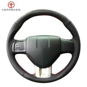 LQTENLEO Black Genuine Leather Hand-stitched Car Steering Wheel Cover For viaggio 2012-2020 Ottimo 2014 Freemont 2011-2020