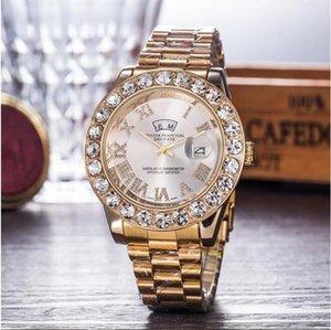 In Stock Aşıklar Lüks Erkekler Otomatik buzlu Out elmas Kadınlar İzle Daydate Başkanı Kol Altın İş Reloj Büyük Elmas Takı Saat