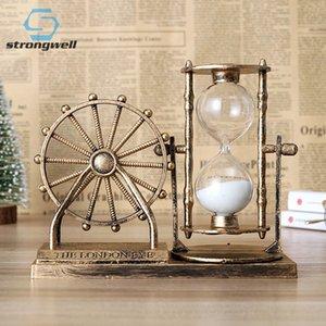 Strongwell Европейский ретро Колесо Hourglass Многофункциональный Sandy Hourglass Night Light Главная Украшения Аксессуары Подарочные T200330