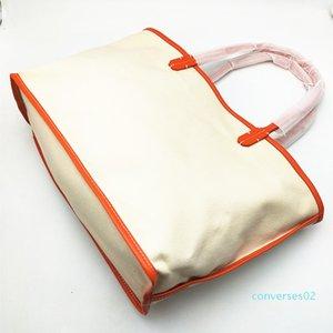 Borsa della signora Women Fashion Shopping Bag Canvas Tote Bags con vera vera pelle Trim e manico CO02
