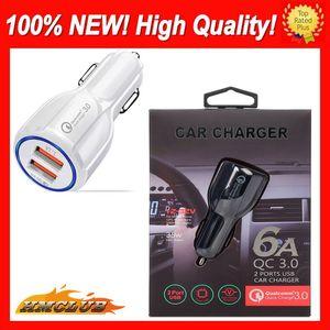 العالمي QC 3.0 سيارة USB شاحن سريع الشحن Adpter شاحن الهاتف 2 ميناء USB سريع شاحن USB شاحن سيارة لفون سامسونج اللوحي السيارات