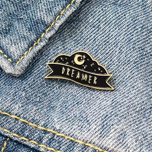 Qihe JOAILLERIE Moon Night étoiles DREAMER Black Fashion Brooche Badges Pin cadeaux design mignon uniques à des amis en gros