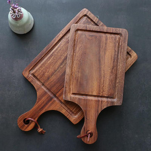 Acacia de corte de madera en forma de Junta de madera pequeña Tabla de cortar para la cocina gota de madera Herramientas charcutería Junta de cocina pizza