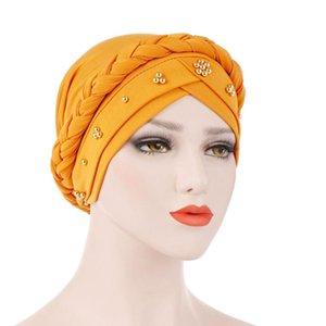 Women Turban Hat Elastic Spring Autumn Beads Daily Scarf Muslim Milk Silk Hair Loss Head Wrap Cap Braided Cancer Chemo