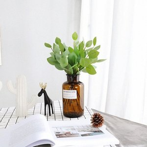 Моделирование Nordic Ins рука связала гроздь листья эвкалипта Домашнее украшение Высокое качество Искусственный Поддельный цветы Эвкалипт QW65 CORE #