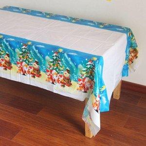 Monouso in plastica PE Tablecover Decorazione albero di Natale del pupazzo di neve Babbo Natale rettangolare tovaglia cucina tavolo da pranzo Covers DH0297