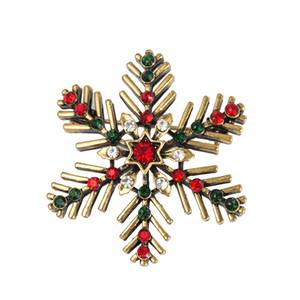 Presentes Exquisite floco de neve do vintage cristal broche pin de Natal broche Mulheres Broches Pinos Decoração Xmas Merry Xmas Hot Vendas